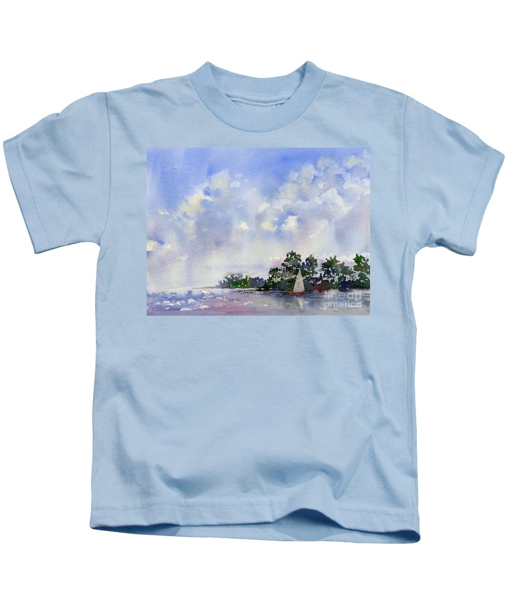 Sailing Kids T-Shirt featuring the painting Leeward The Island by Amy Kirkpatrick