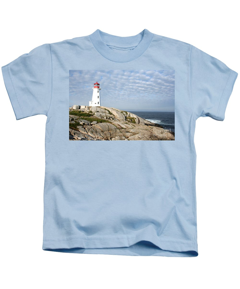 Lighthouse Kids T-Shirt featuring the photograph Lighthouse At Peggys Point Nova Scotia by Thomas Marchessault