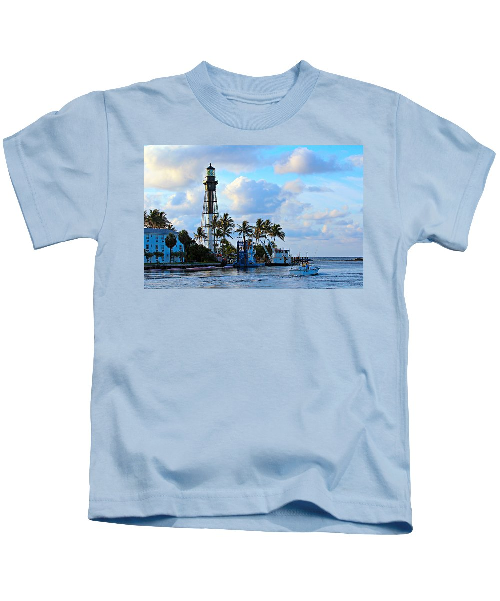 America Kids T-Shirt featuring the photograph Lighthouse Sunrise by Paul Fell