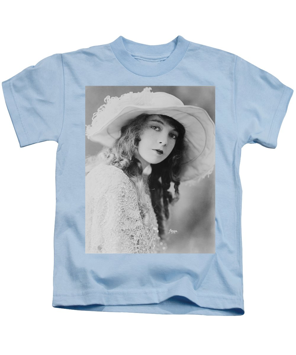 Black And White Kids T-Shirt featuring the photograph Lillian Gish by Mountain Dreams