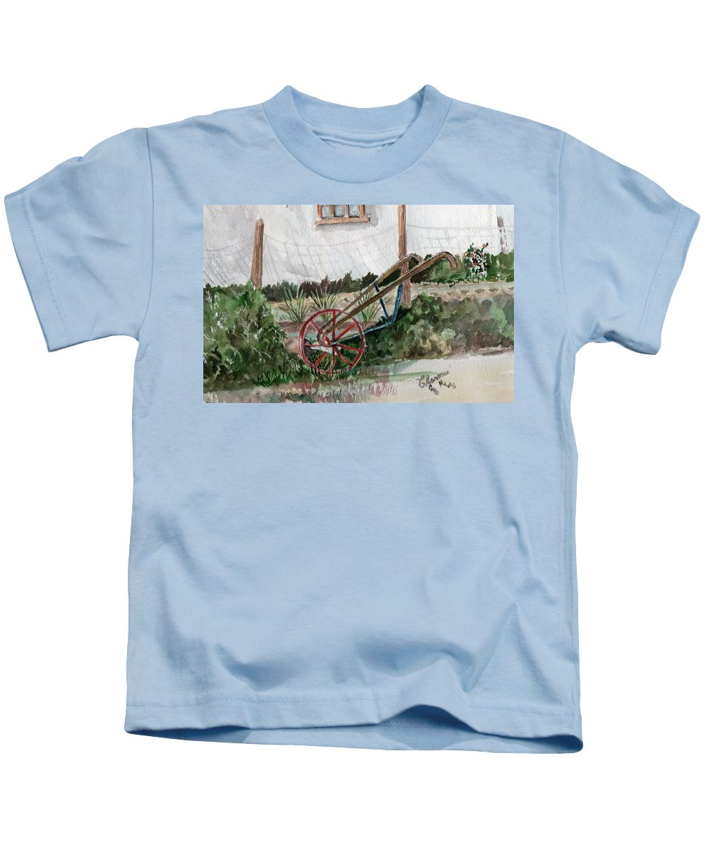 Old Gardening Tool Kids T-Shirt featuring the painting Lindas' Garden by Charme Curtin