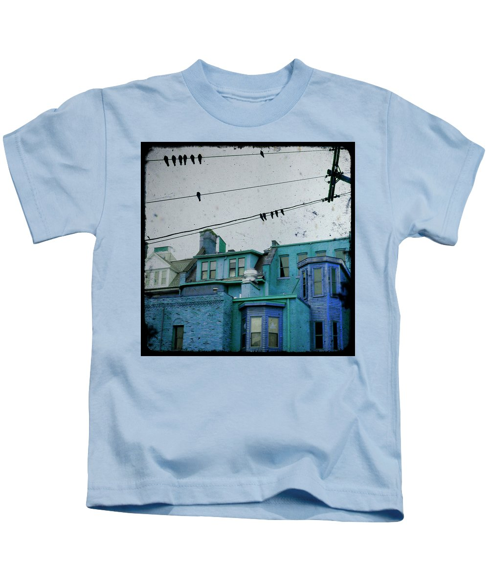 Urban Houses Kids T-Shirt featuring the photograph Little Blue Houses by Gothicrow Images