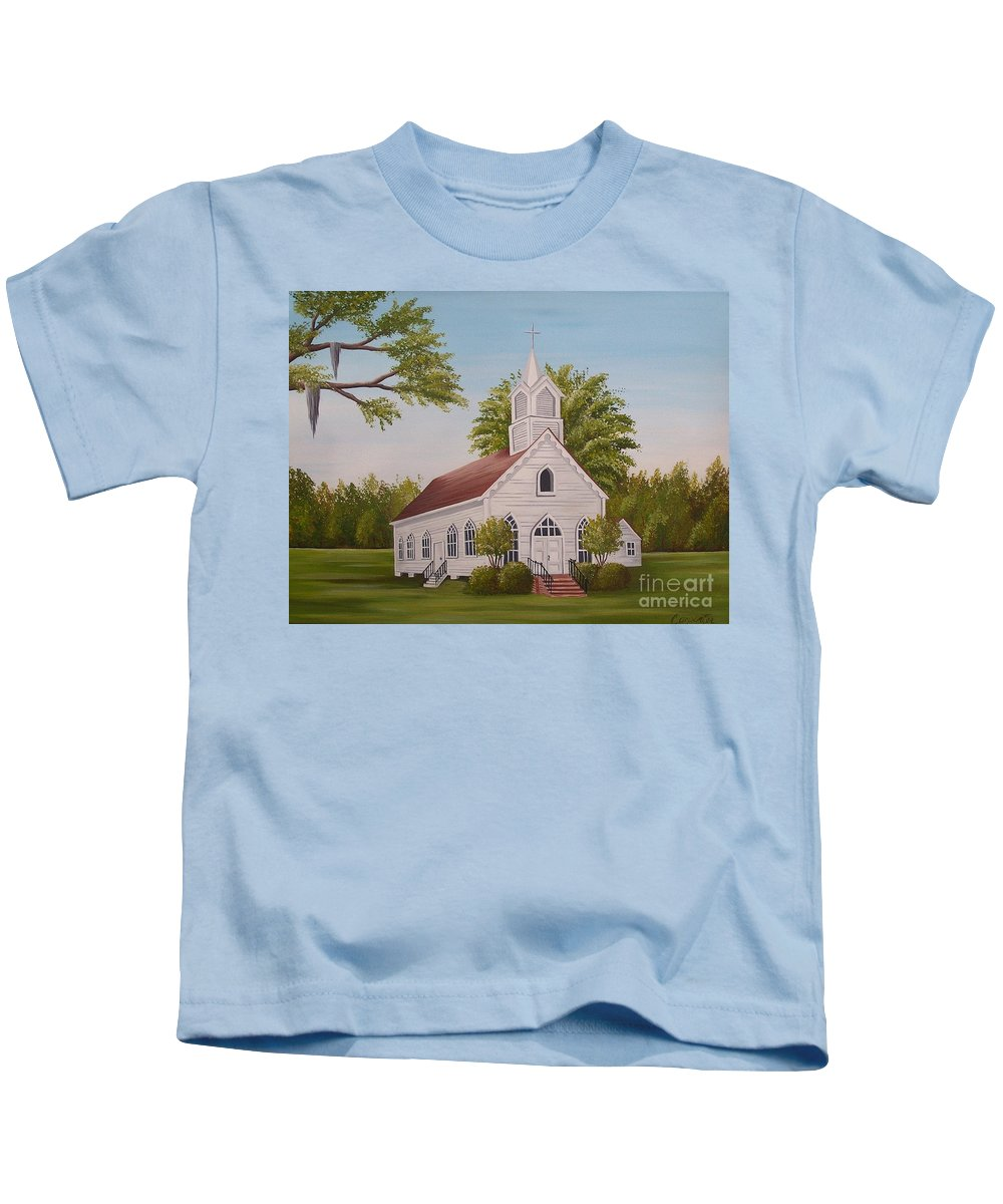 Church Kids T-Shirt featuring the painting Little Chapel by Valerie Carpenter