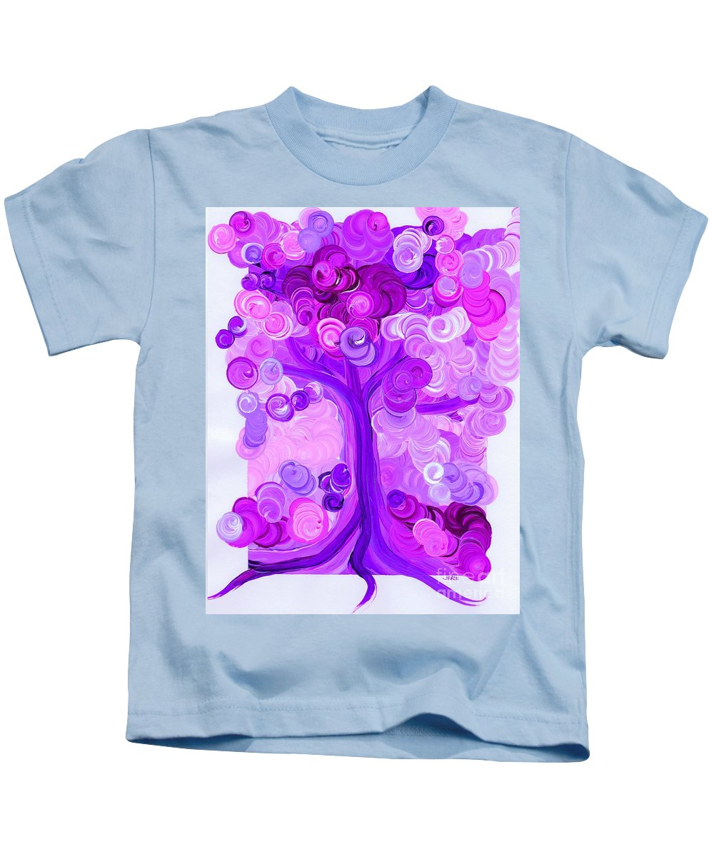 First Star Kids T-Shirt featuring the painting Liz Dixon's Tree Pink By Jrr by First Star Art