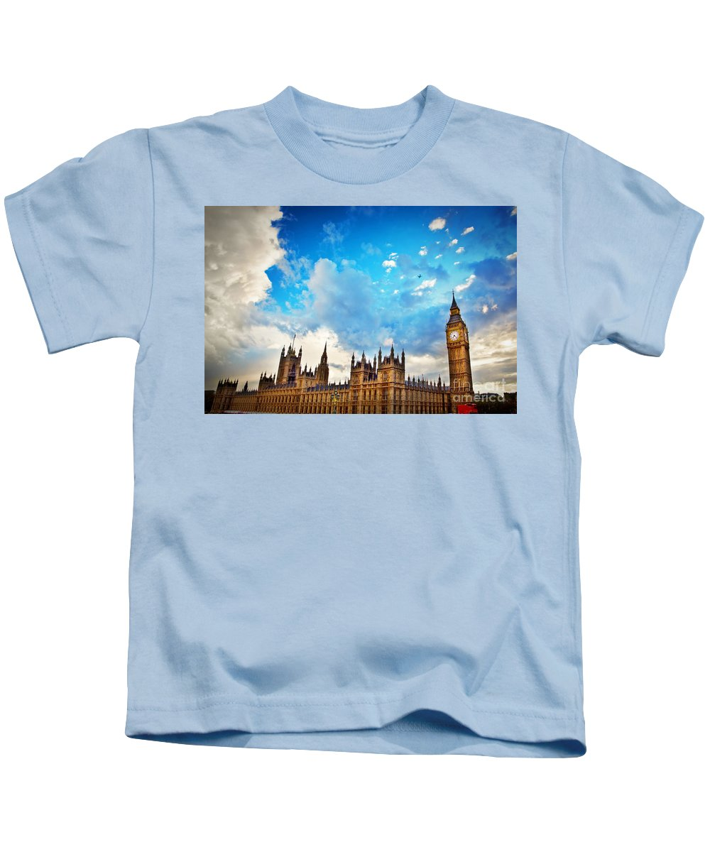 London Kids T-Shirt featuring the photograph London Uk Big Ben The Palace Of Westminster by Michal Bednarek