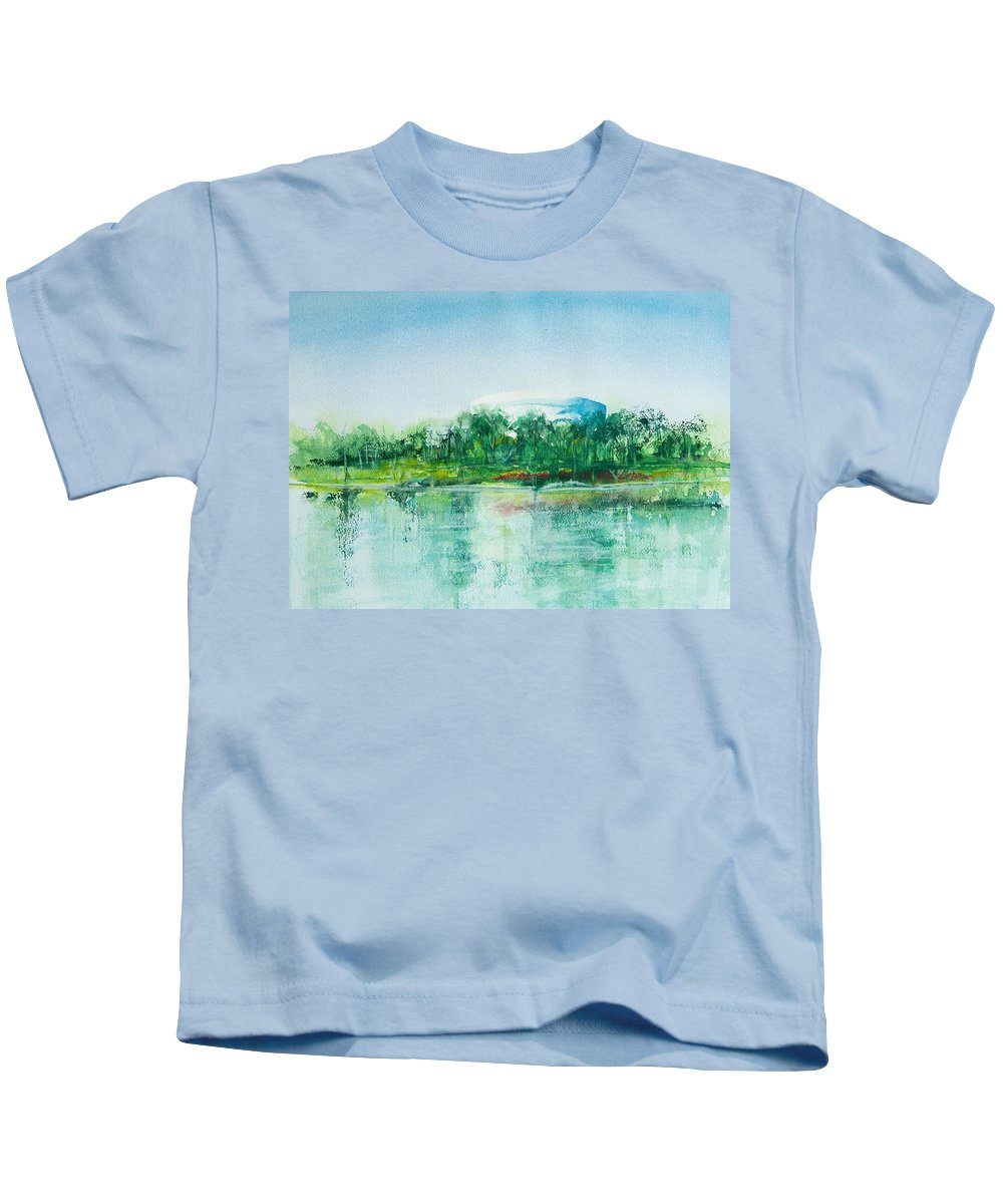 Watercolor Kids T-Shirt featuring the painting Long Beach Convention Center Arena by Debbie Lewis