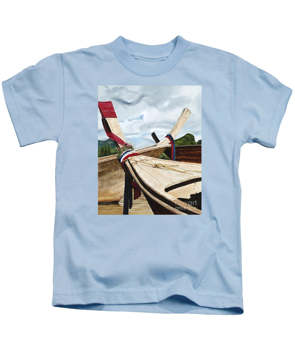 Art Kids T-Shirt featuring the painting Long Tail Boats Of Krabi by Mary Rogers