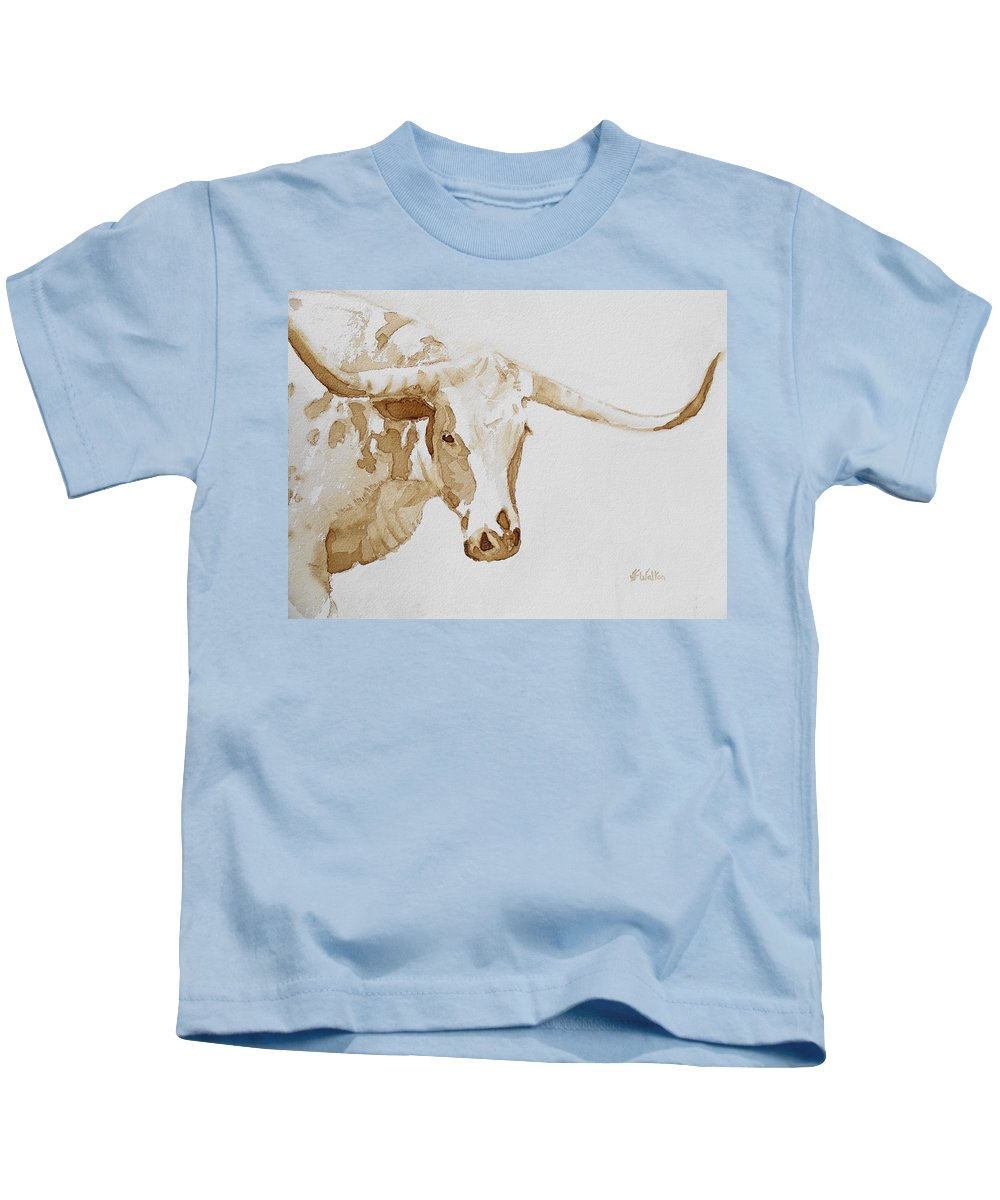 Coffee Kids T-Shirt featuring the painting Longhorn by Judy Fischer Walton