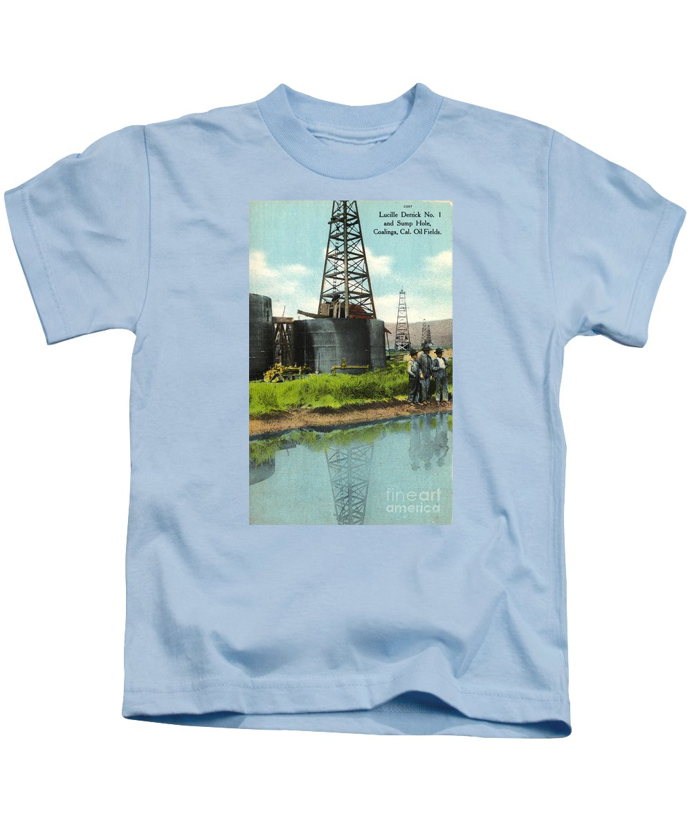 Lucille Derrick No. 1 Kids T-Shirt featuring the photograph Lucille Derrick No 1 Sump Hole Coalinga California Circa 1910 by California Views Archives Mr Pat Hathaway Archives