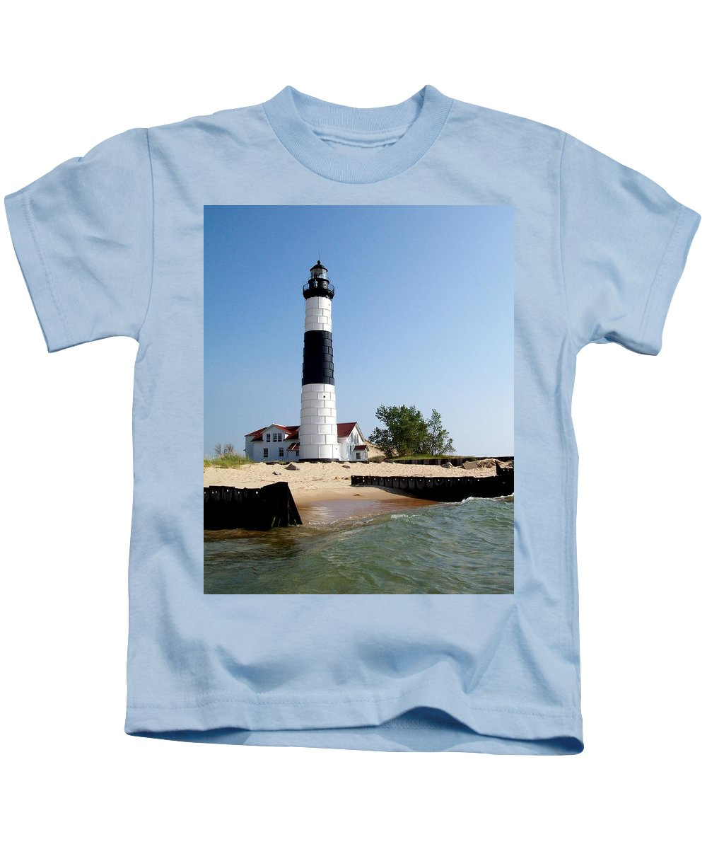 Lighthouse Kids T-Shirt featuring the photograph Ludington Michigan's Big Sable Lighthouse by Michelle Calkins