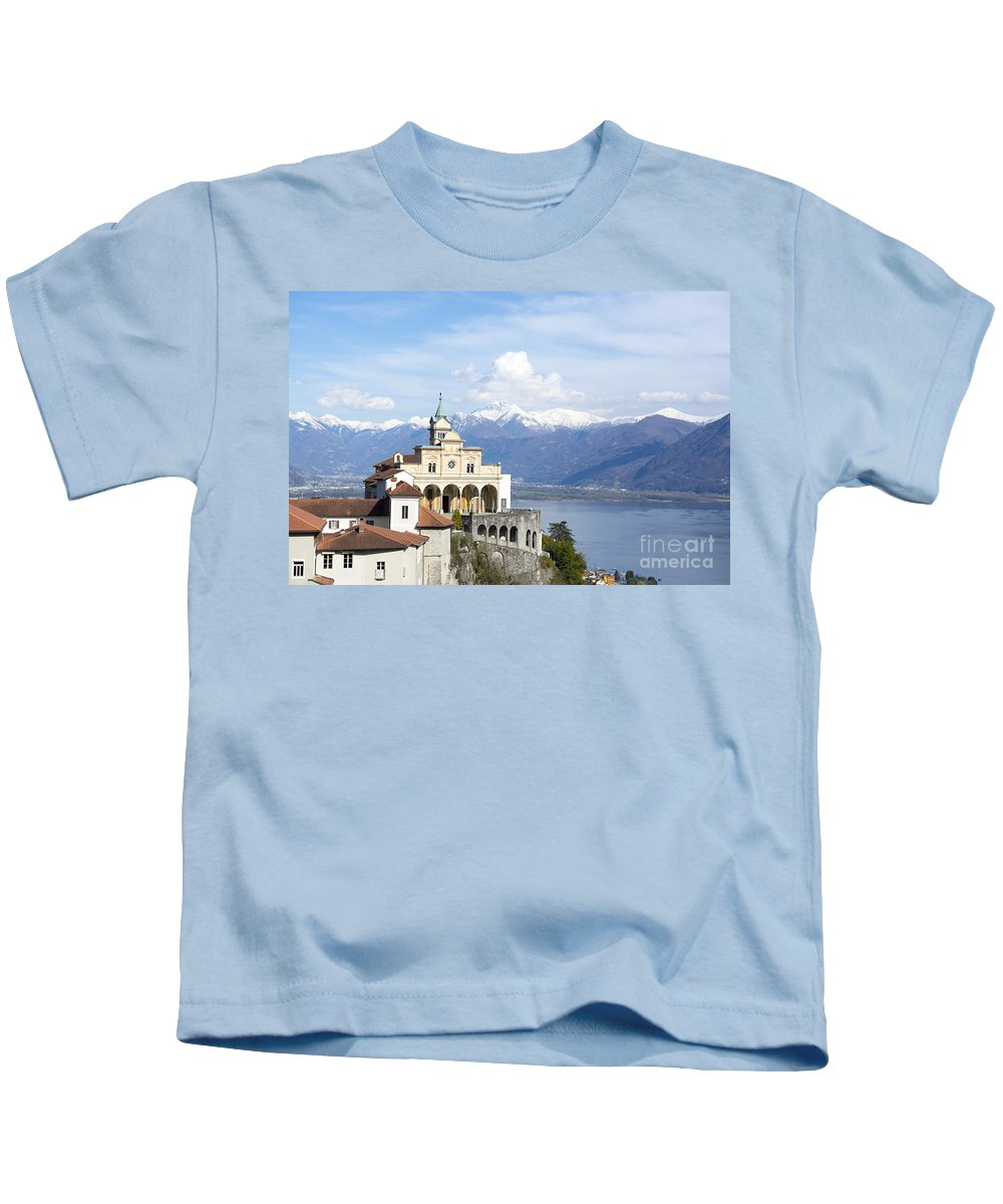 Church Kids T-Shirt featuring the photograph Madonna Del Sasso by Mats Silvan