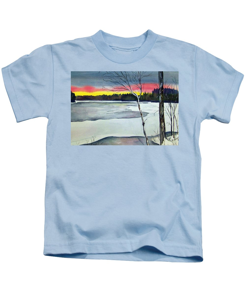 Landscape Kids T-Shirt featuring the painting Maine Winter Sunset by Brenda Owen