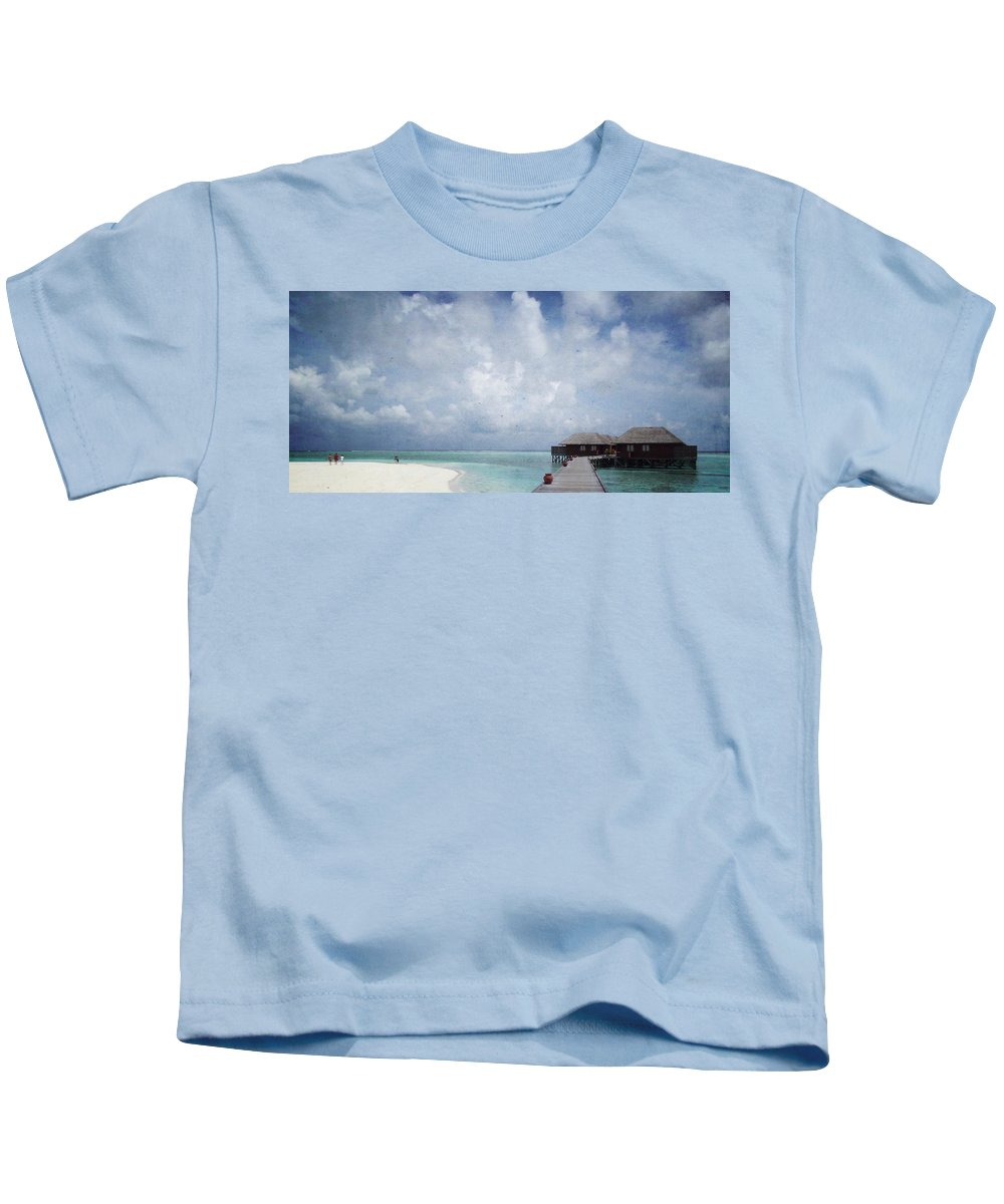 Maldives Kids T-Shirt featuring the mixed media Maldives by Heike Hultsch