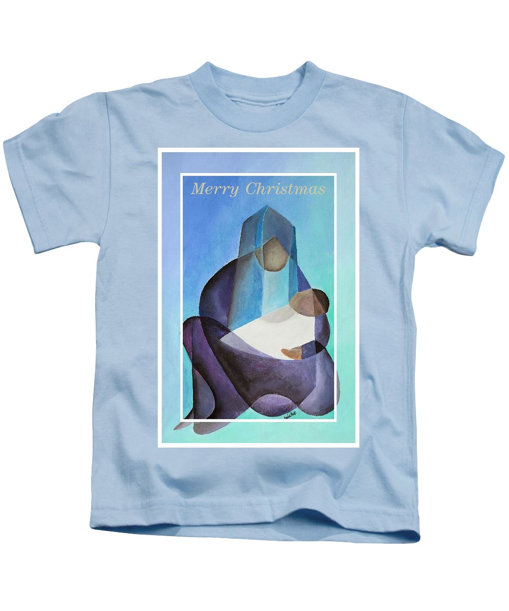 Christmas Kids T-Shirt featuring the painting Merry Christmas Virgin Mary And Child by Taiche Acrylic Art