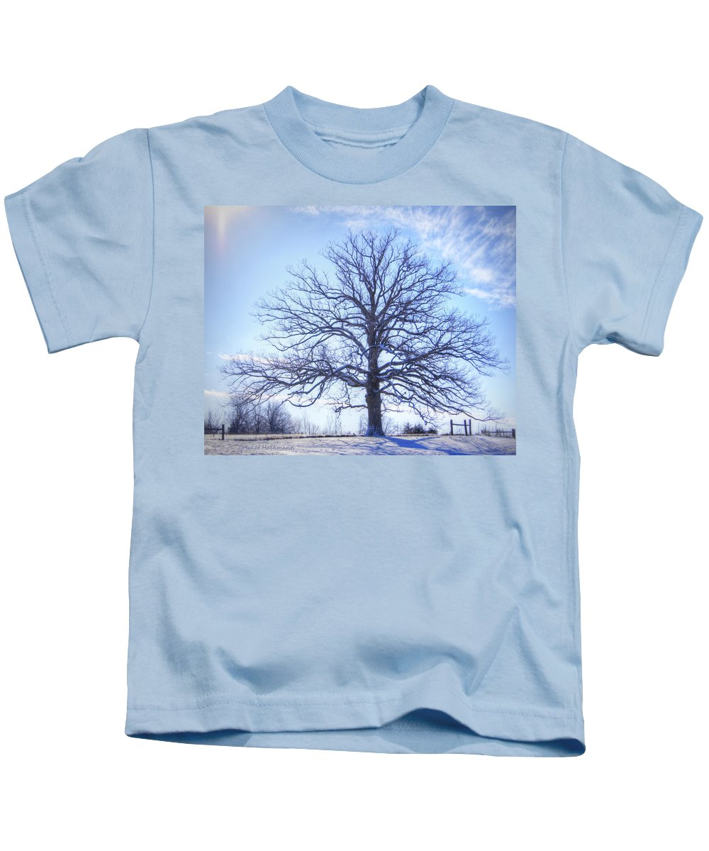 Tree Kids T-Shirt featuring the photograph Mighty Oak In Winter by Cricket Hackmann