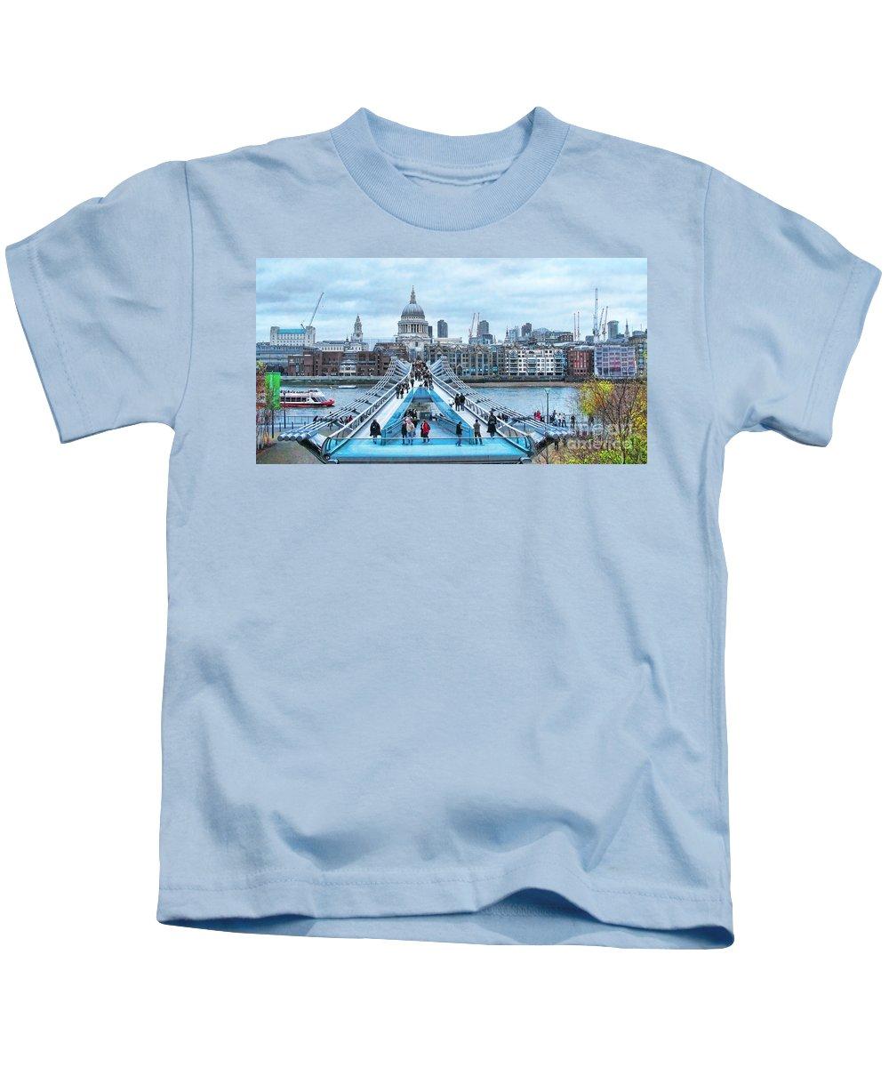 Millenium Bridge Kids T-Shirt featuring the photograph Millenium Bridge And St Pauls Cathedral by Jack Schultz