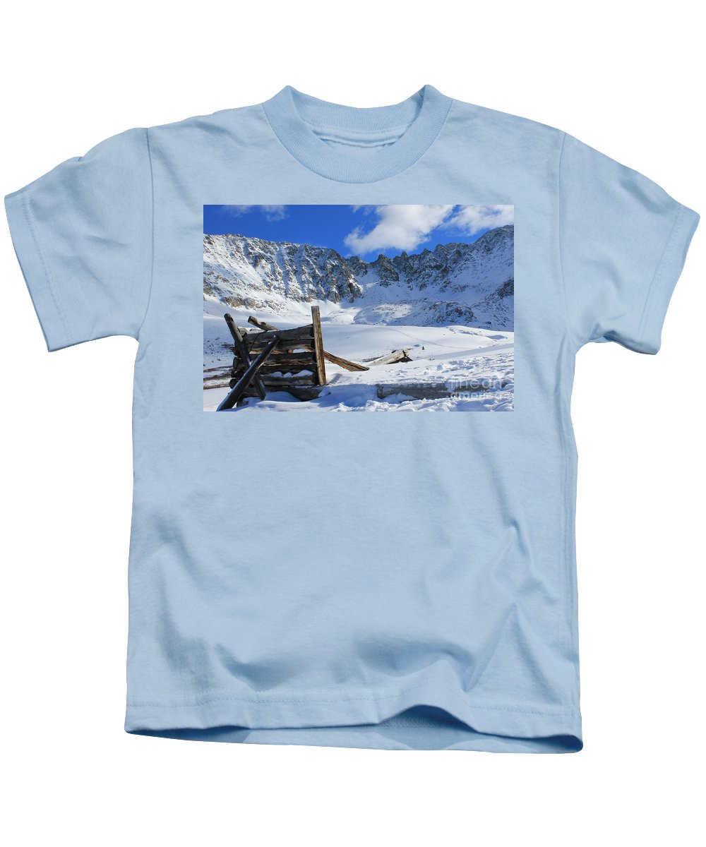 Nature Kids T-Shirt featuring the photograph Mine Relics In The Snow by Tonya Hance