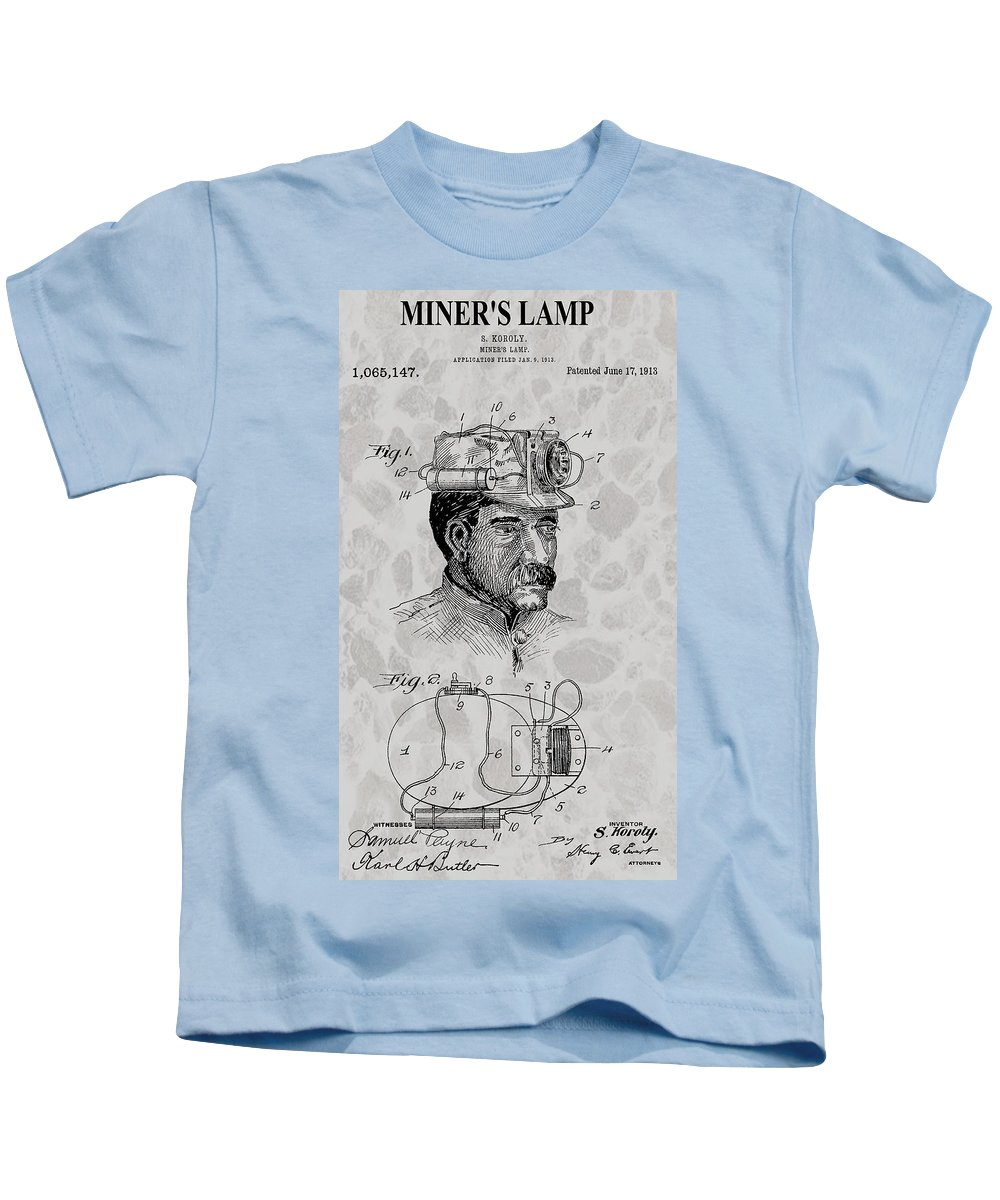 Miner's Lamp Patent Kids T-Shirt featuring the digital art Miner's Lamp Patent by Dan Sproul