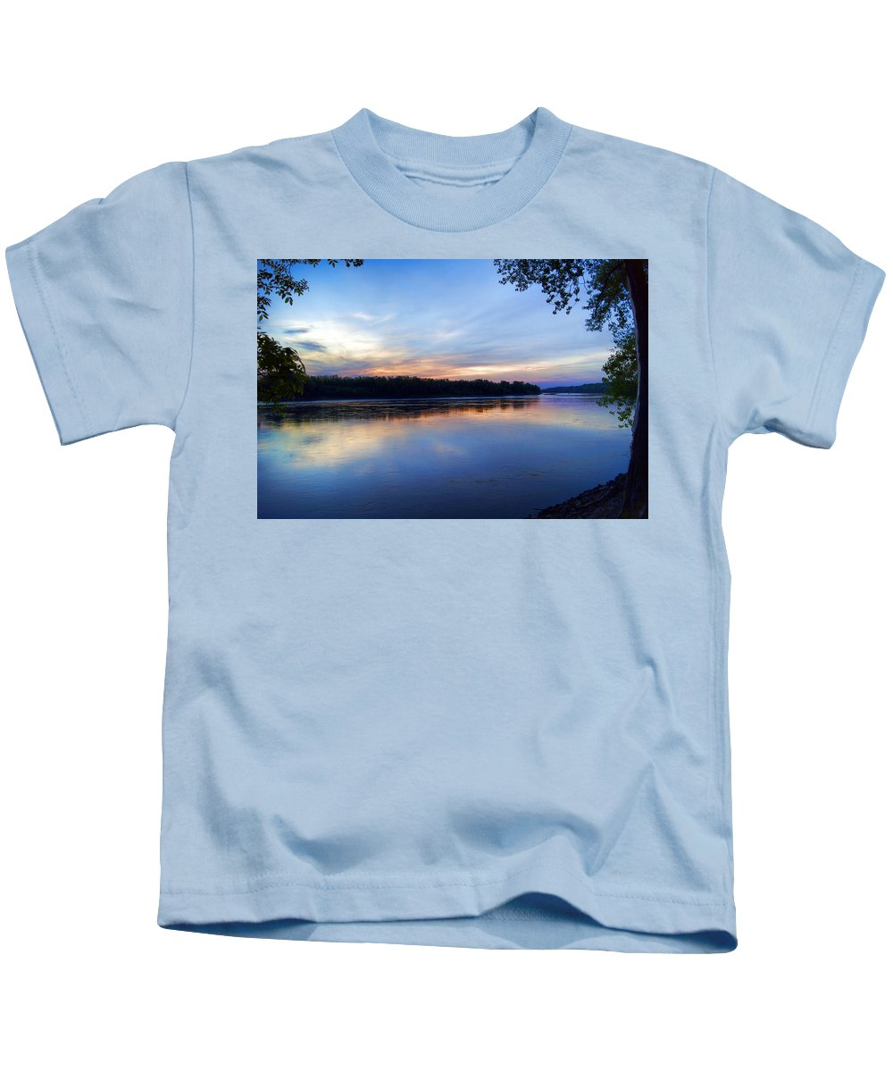 River Kids T-Shirt featuring the photograph Missouri River Blues by Cricket Hackmann