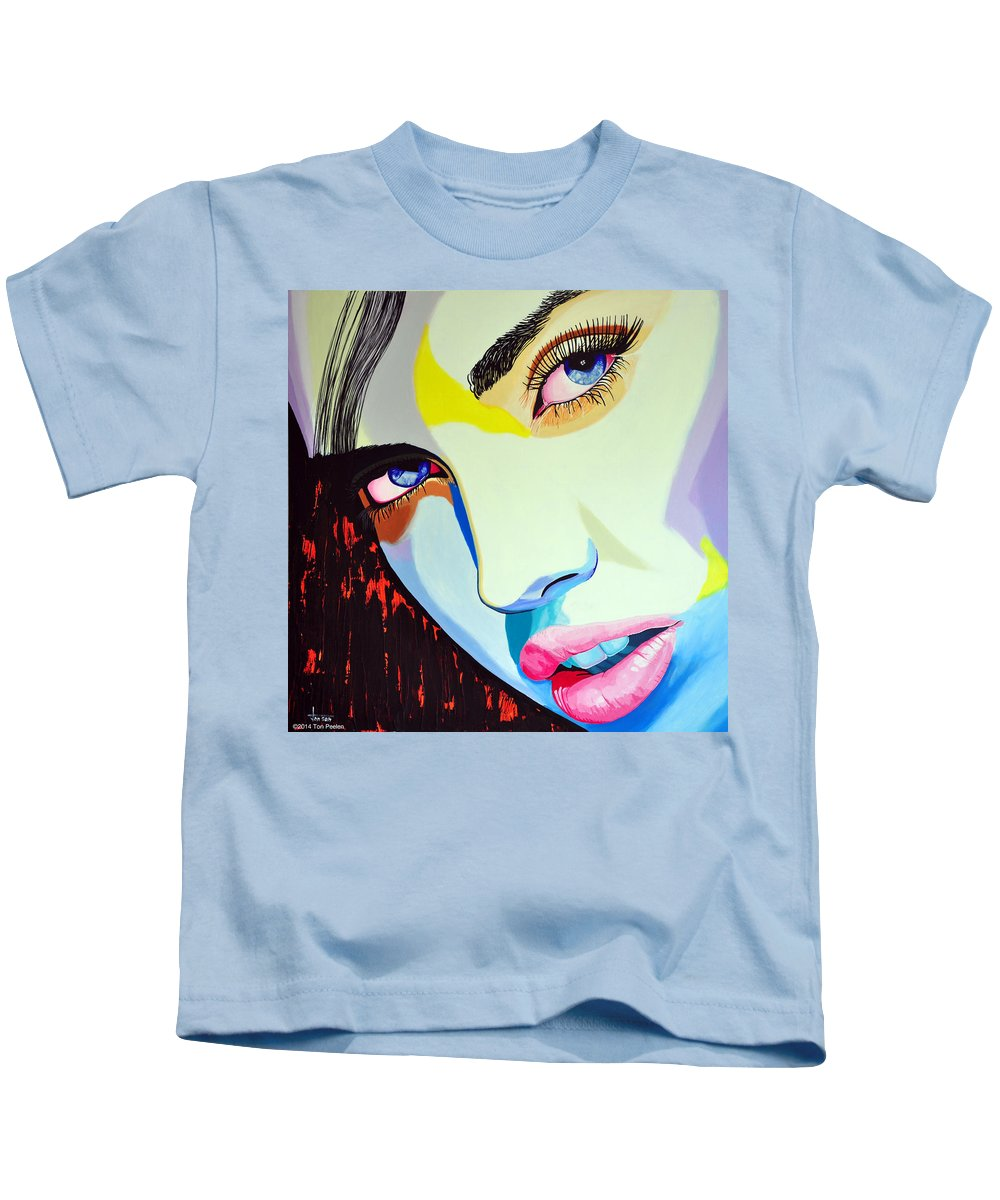Model Kids T-Shirt featuring the painting Model3 by Ton Peelen