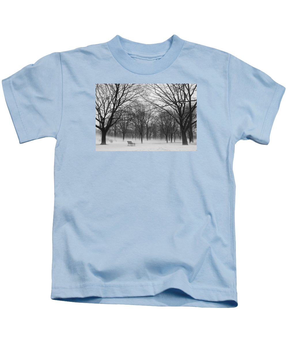 Monarch Park Kids T-Shirt featuring the photograph Monarch Park Ground Fog by Rick Shea