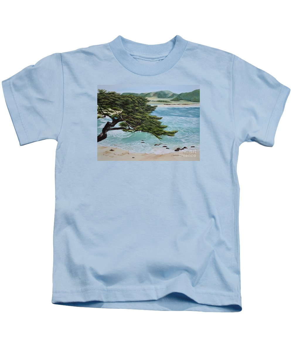 Beach Kids T-Shirt featuring the painting Monastery Beach by Mary Rogers