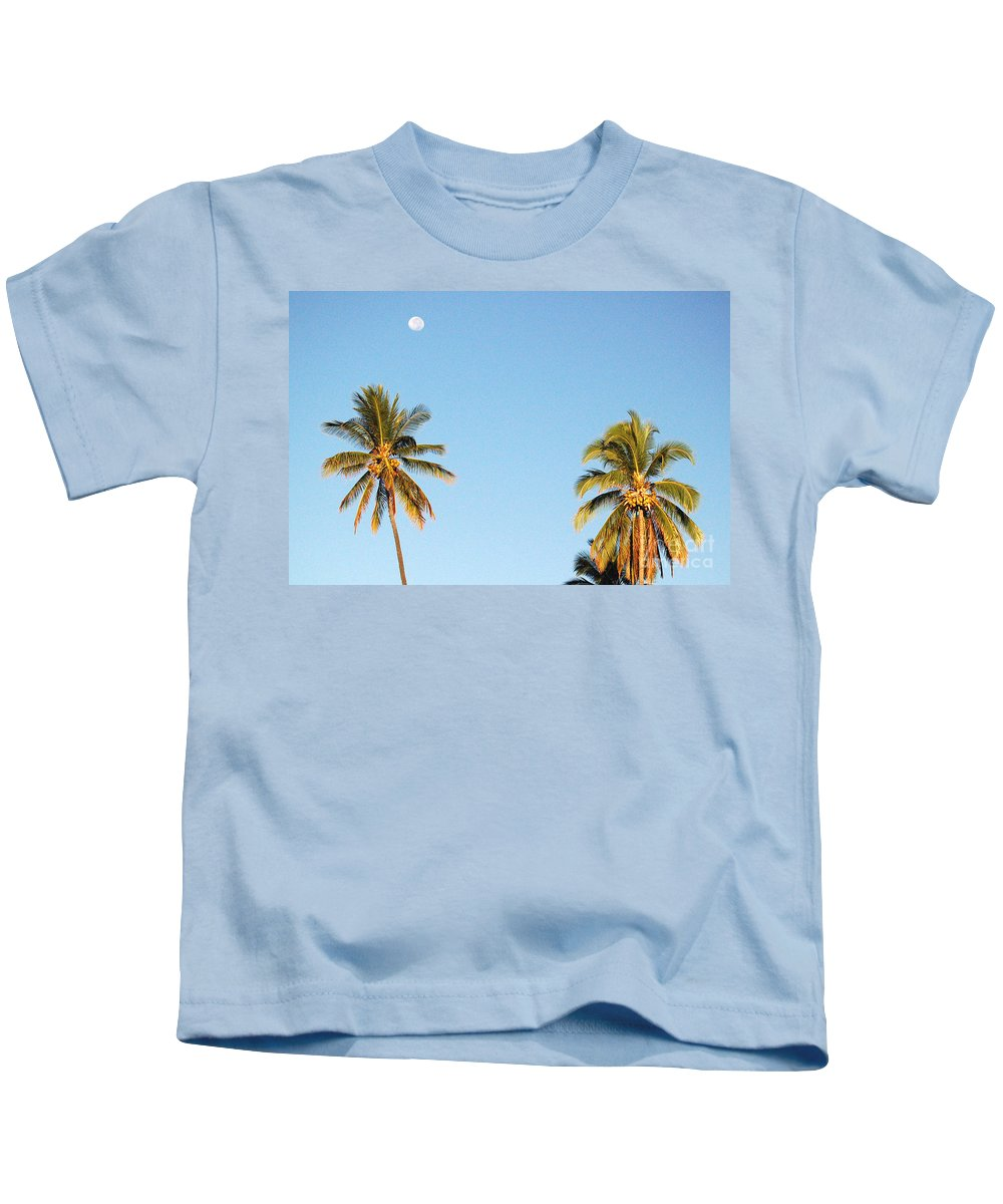 Moon Kids T-Shirt featuring the photograph Moon Over Molokai by Terry Holliday