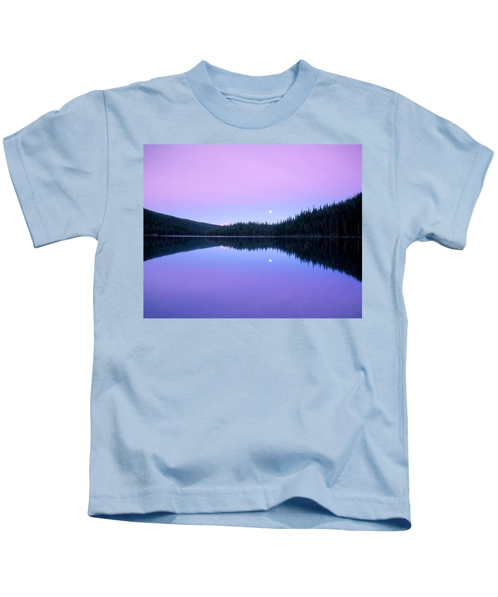 Azure Kids T-Shirt featuring the photograph Moon Rise by Leland D Howard