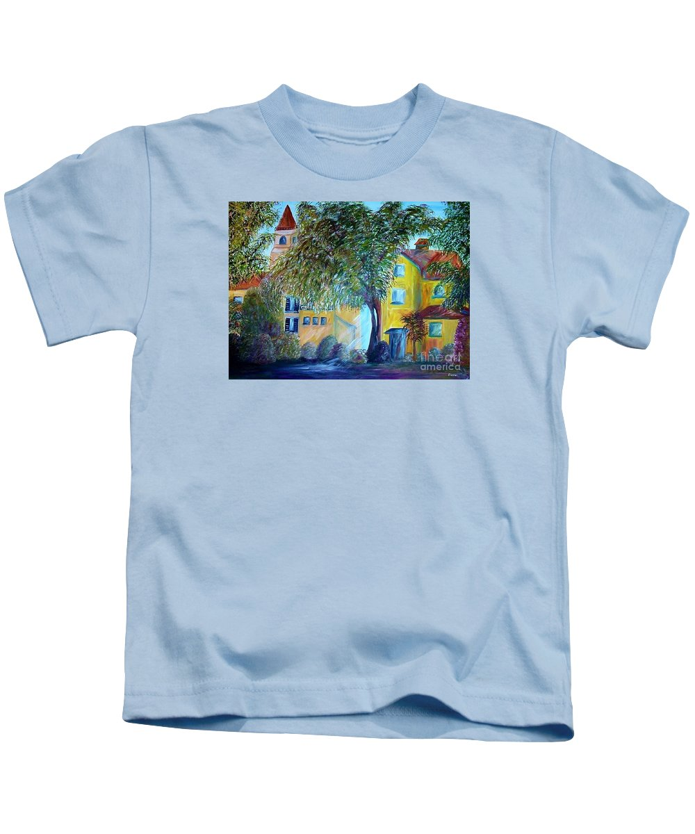 Tuscan Kids T-Shirt featuring the painting Morning In Tuscany by Eloise Schneider Mote