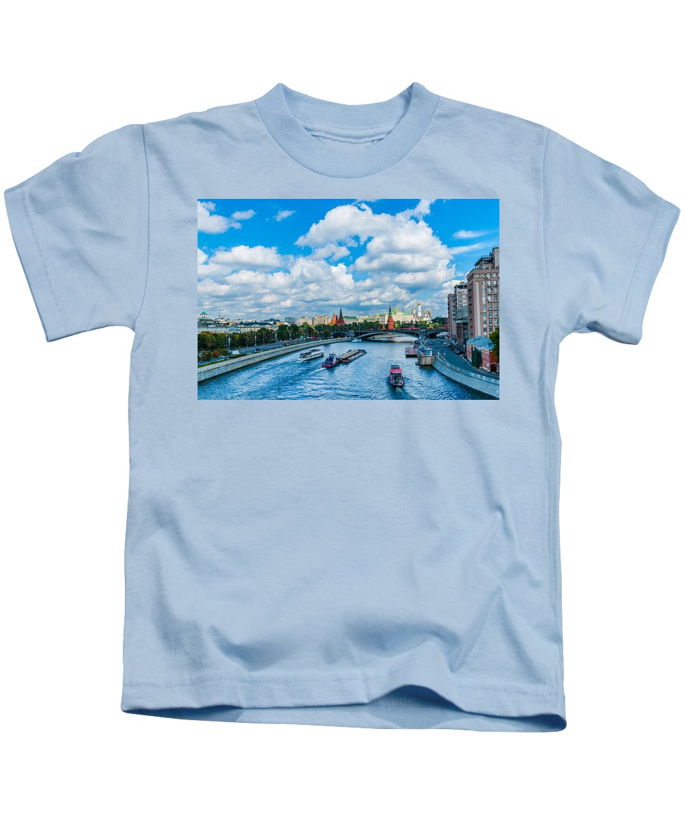 Moscow Kids T-Shirt featuring the photograph Moscow Kremlin And Busy River Traffic by Alexander Senin