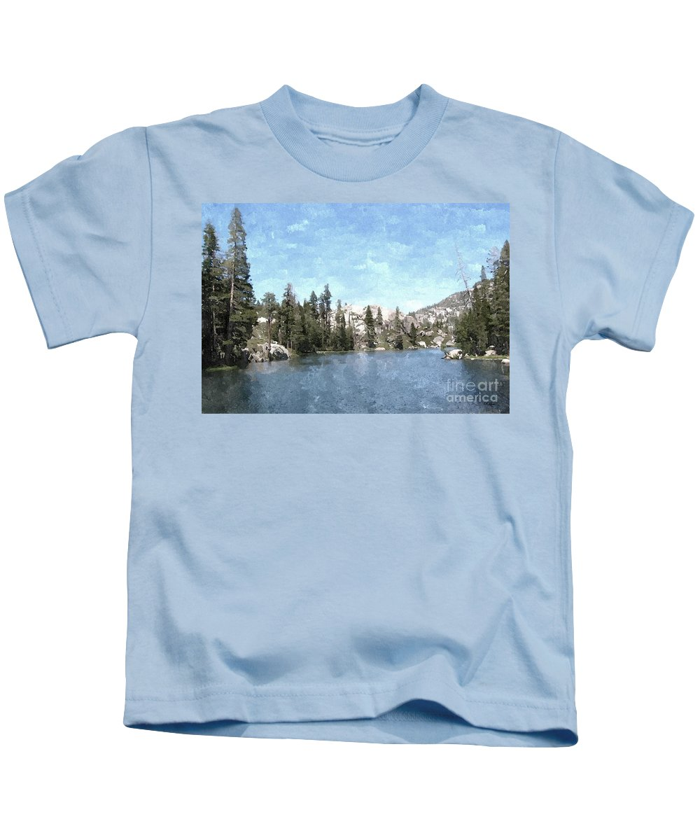 Mountains Kids T-Shirt featuring the painting Mountain Lake Retreat by Sara Raber