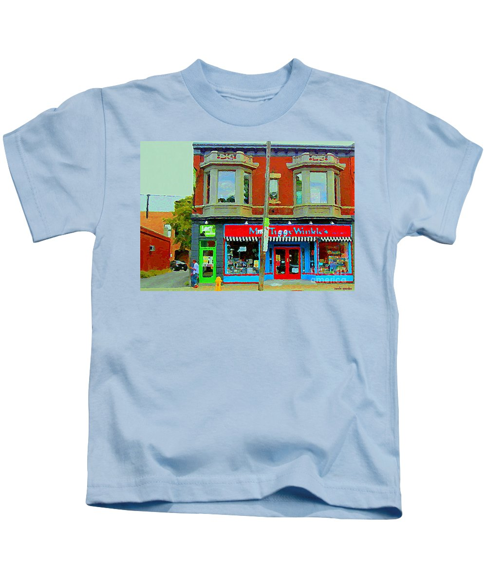 Ottawa Kids T-Shirt featuring the painting Mrs Tiggy Winkle's Toy Shop And Lost Marbles Richmond Rd The Glebe Paintings Ottawa Scenes C Spandau by Carole Spandau