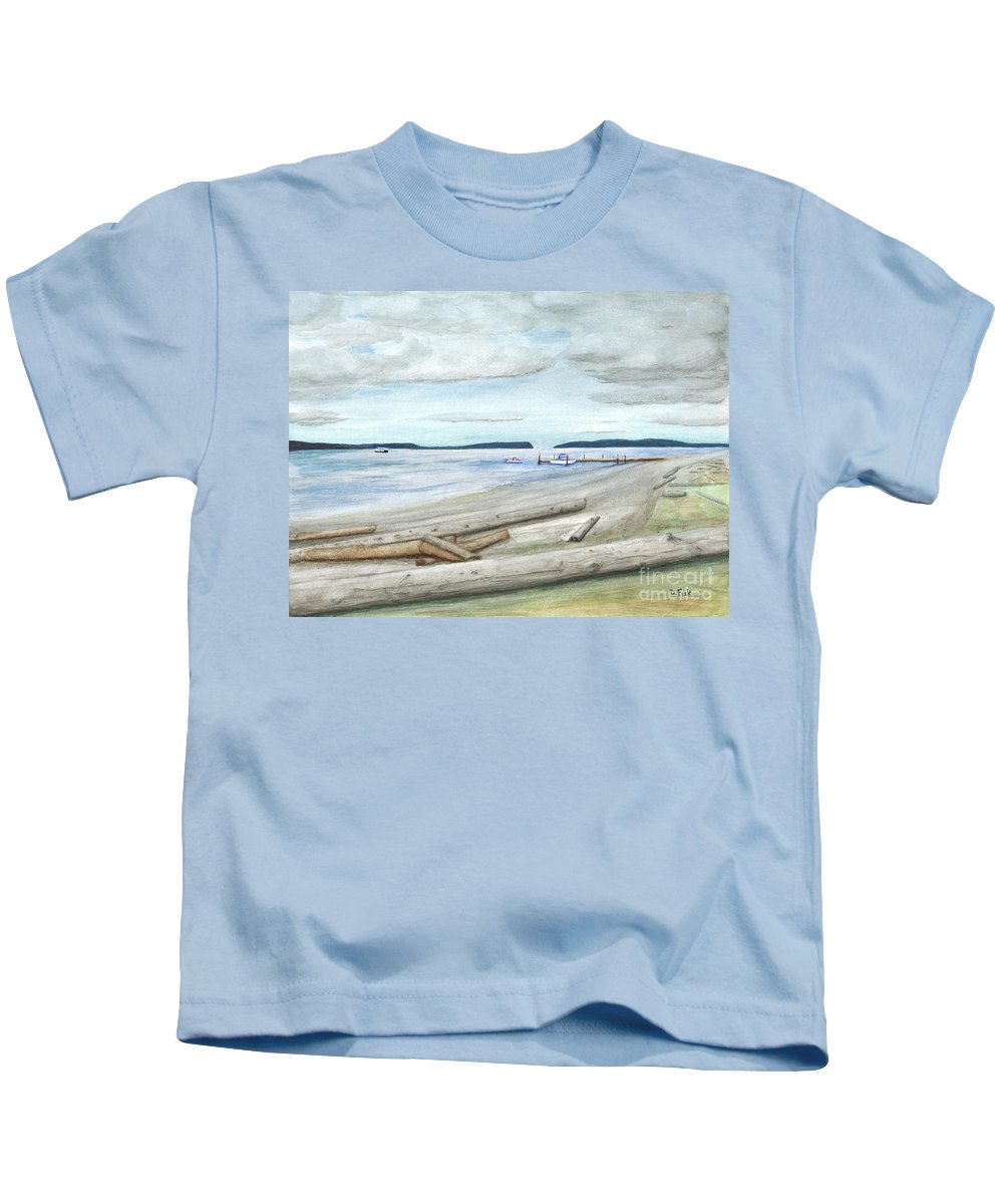 Landscape Kids T-Shirt featuring the painting Mukilteo Beach by Dennis Fisk