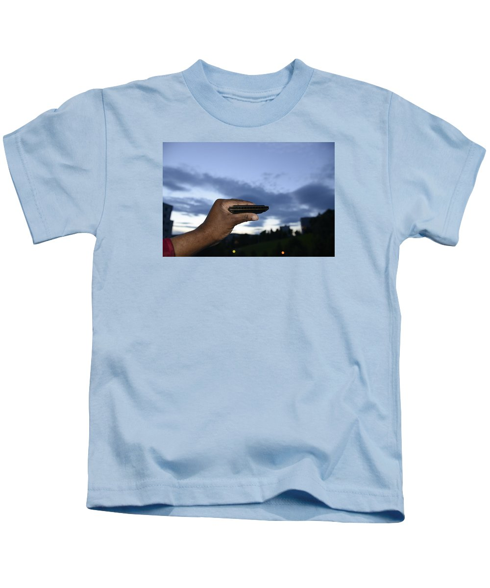 Andre Theophane ( Teo ) Sitchet-kanda Portrait And Fine Art Photography Photographs Photographs Kids T-Shirt featuring the photograph My Afro Blues Harmonica - Blue Hour Blues by Teo SITCHET-KANDA