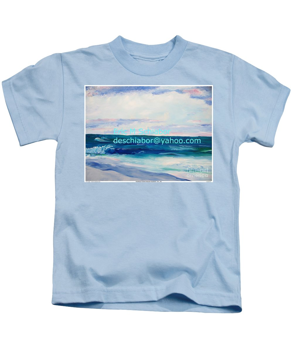Floral Kids T-Shirt featuring the painting Ocean Assateague Virginia by Eric Schiabor
