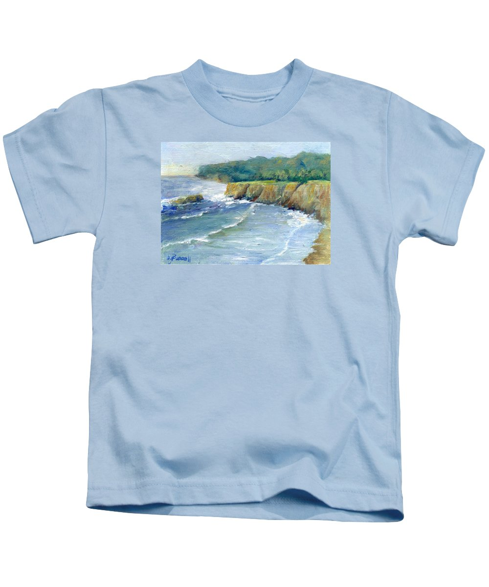 Ocean Kids T-Shirt featuring the painting Ocean Surf Colorful Original Seascape Painting by K Joann Russell