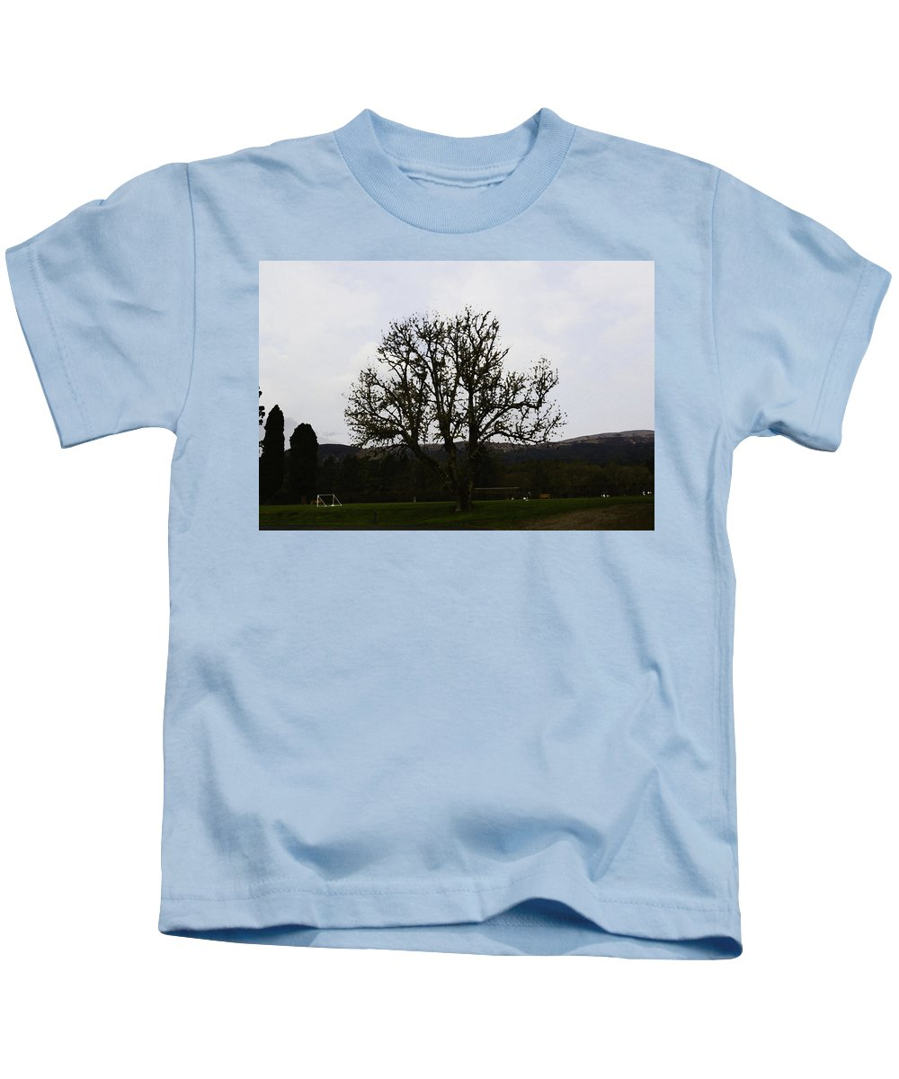 Canon Kids T-Shirt featuring the photograph Oil Painting - An Old Tree In The Middle Of A Garden And Playground by Ashish Agarwal