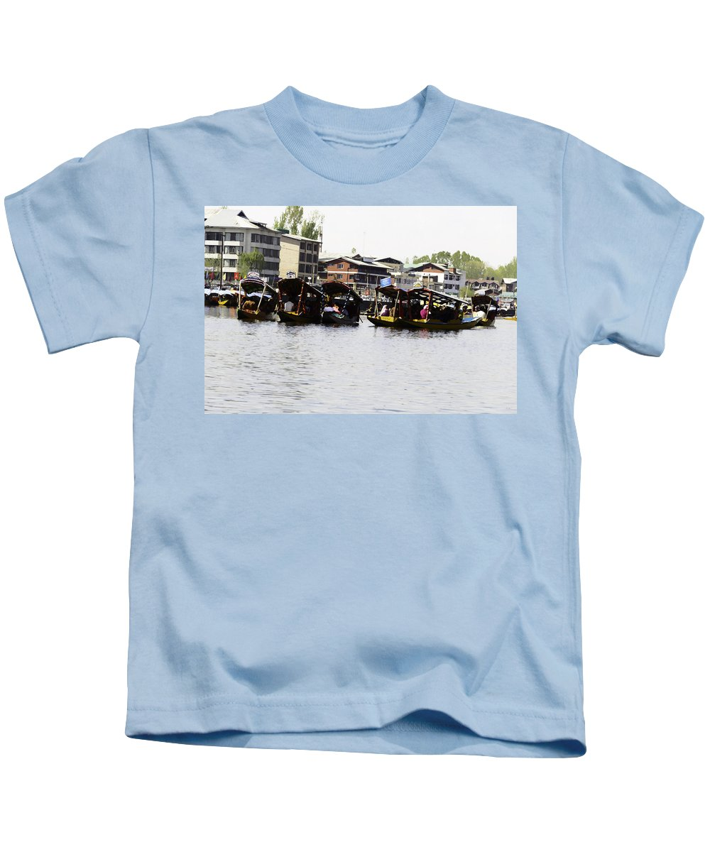 Action Kids T-Shirt featuring the digital art Oil Painting - Multiple Families Relaxing In Multiple Shikaras In The Dal Lake by Ashish Agarwal