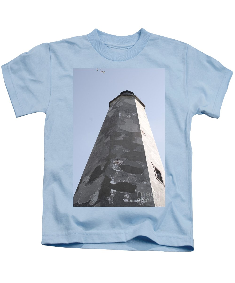 Lighthouse Kids T-Shirt featuring the photograph Old Baldy Lighthouse Nc by Nadine Rippelmeyer