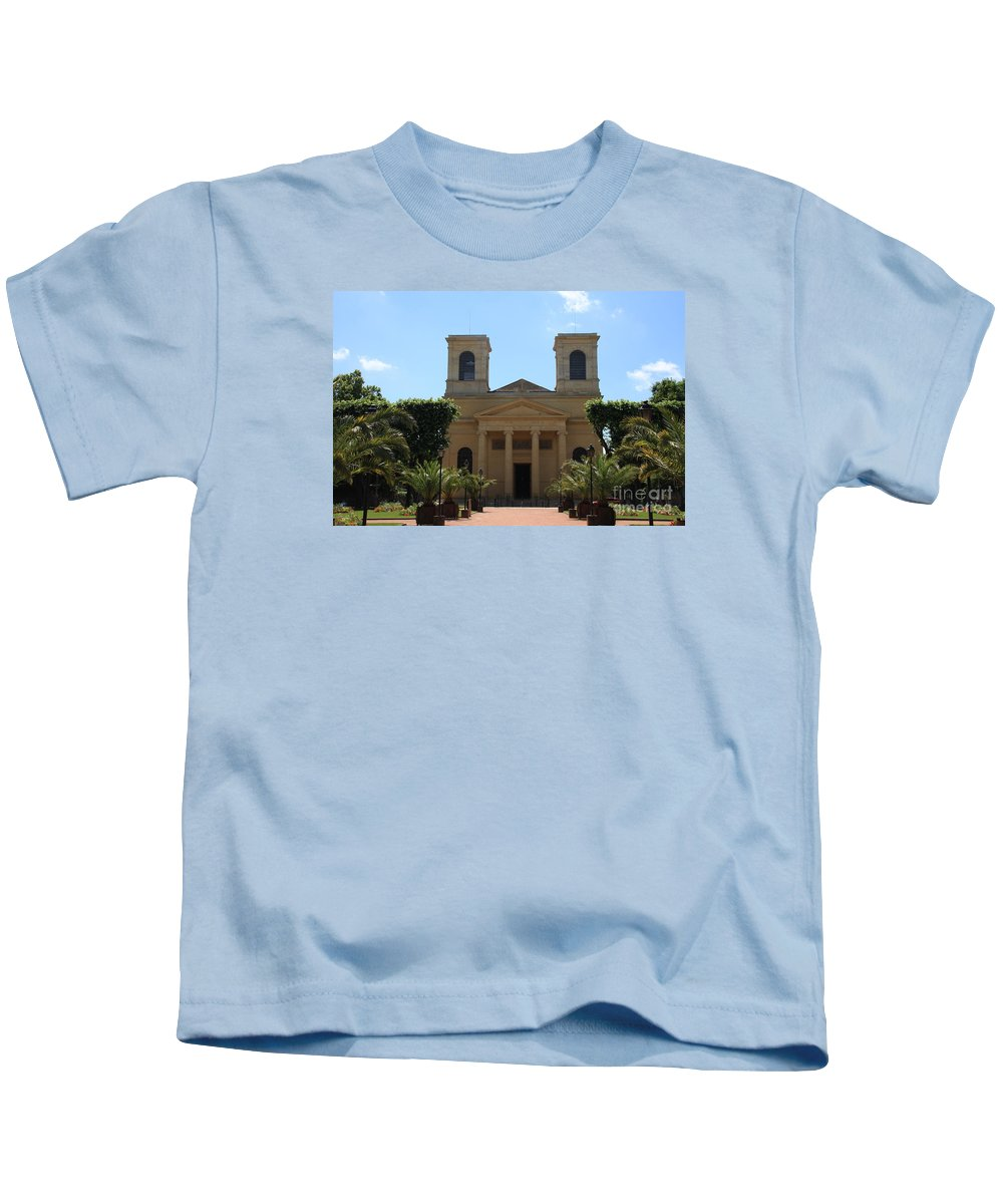 Church Kids T-Shirt featuring the photograph Old Church - Macon - Burgundy by Christiane Schulze Art And Photography