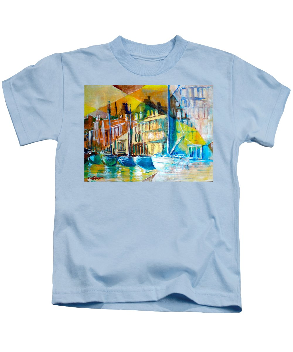 Old World Street Kids T-Shirt featuring the painting Old Copenhagen thru Stained Glass by Seth Weaver