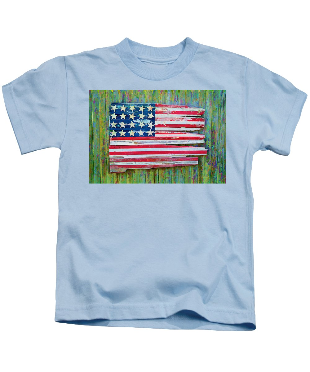 Wooden Kids T-Shirt featuring the photograph Old Glory In Wood Impression by Jack Daulton