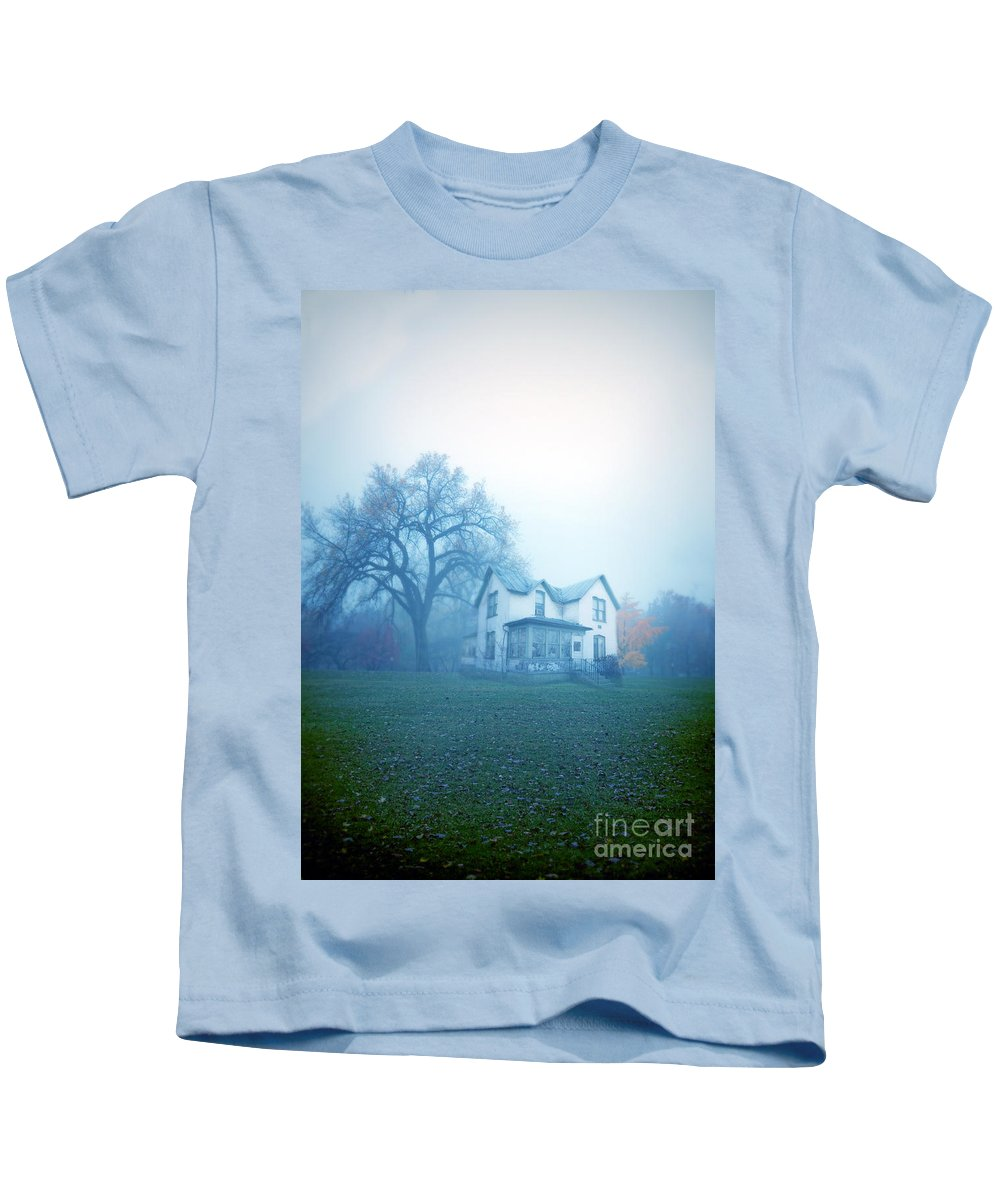 House Kids T-Shirt featuring the photograph Old House In Fog by Jill Battaglia