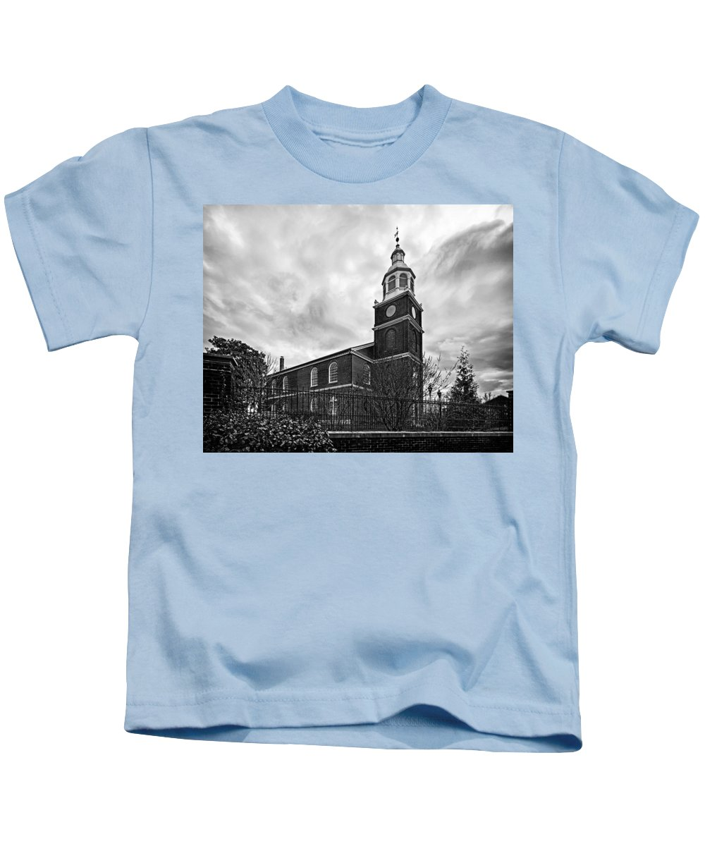 Old Otterbein United Methodist Church Kids T-Shirt featuring the photograph Old Otterbein Church In Black And White by Bill Swartwout Fine Art Photography