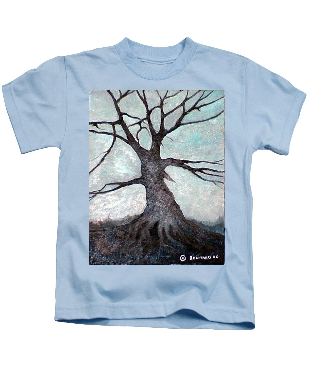 Landscape Kids T-Shirt featuring the painting Old tree by Sergey Bezhinets
