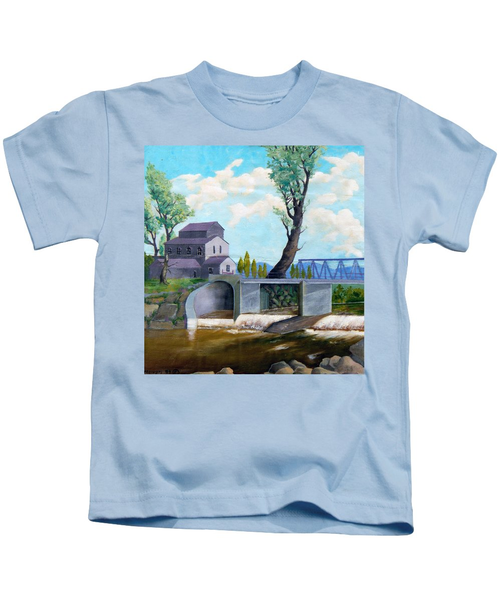Old Kids T-Shirt featuring the painting Old Water Mill by Sergey Bezhinets