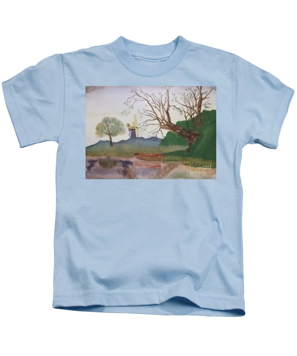 Old Willow Kids T-Shirt featuring the painting Old Willow And Boat by John Williams