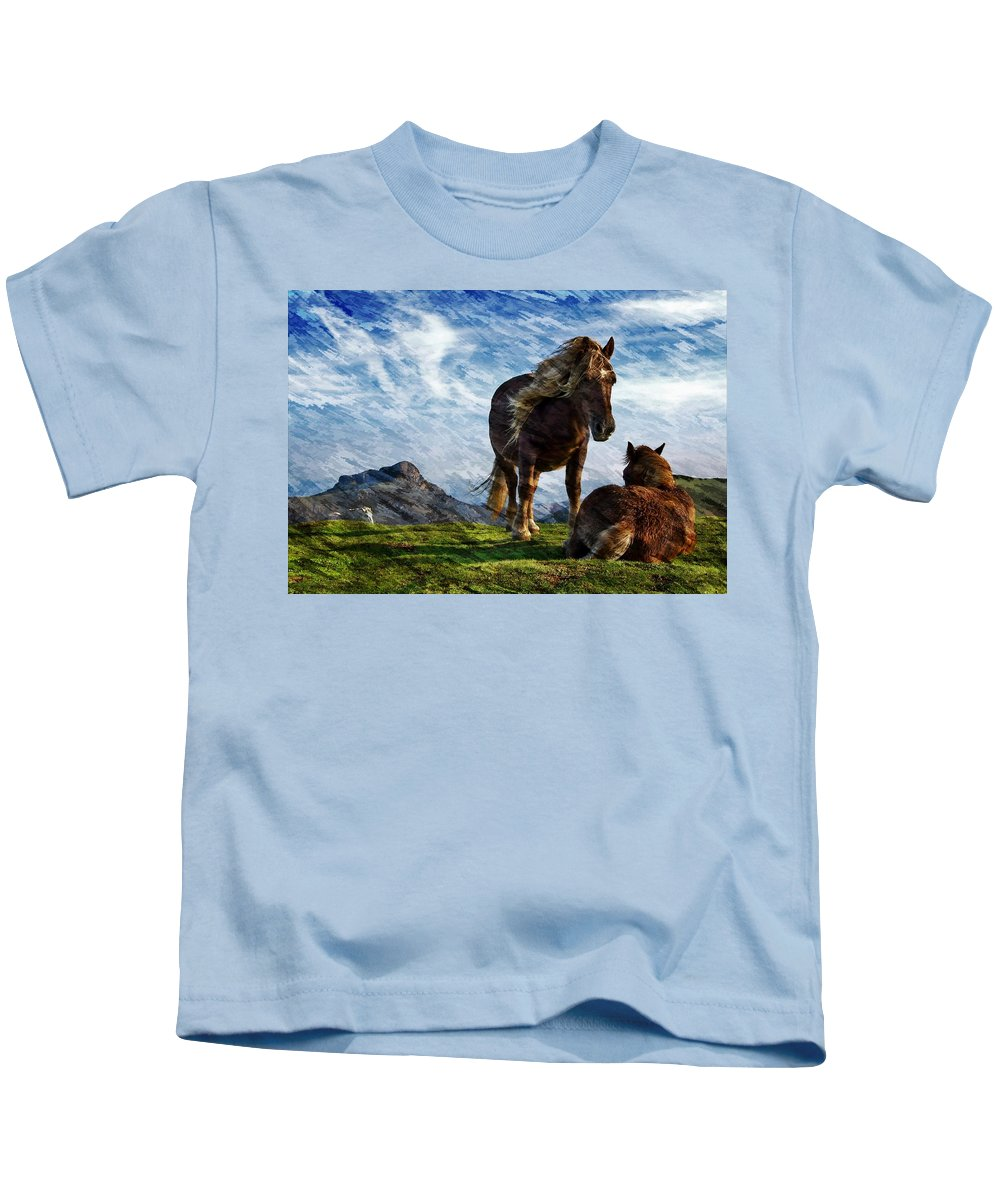 Horses Kids T-Shirt featuring the photograph On The Range by Ericamaxine Price