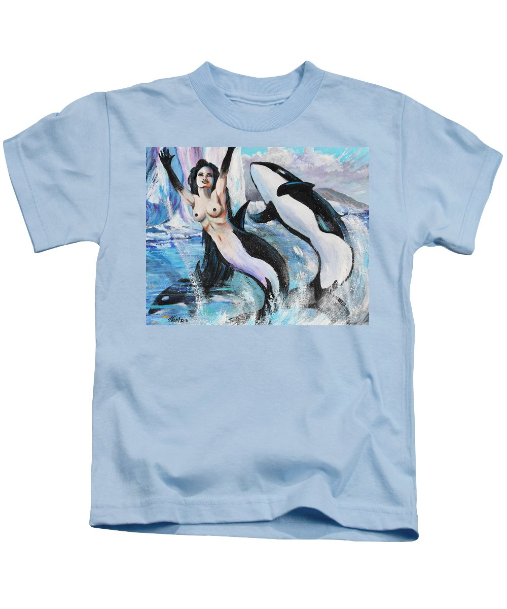Mermaid Kids T-Shirt featuring the painting Orca Mermaid by Karon Melillo DeVega
