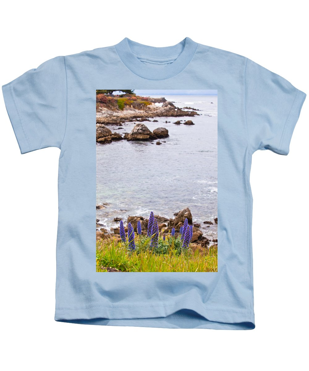 Shoreline Kids T-Shirt featuring the photograph Pacific Grove Coastline by Melinda Ledsome